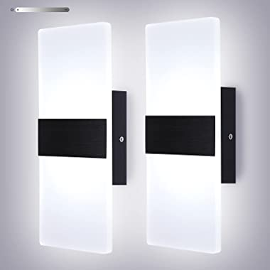 Lightess Modern Wall Sconces Set of 2 LED Hardwired Wall Lamp Dimmable Square Aluminum Wall Mount Sconce, Black Brushed Acryl