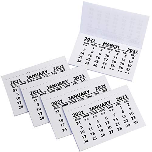 2021 Calendar Tabs Insert White Mini Calendar Tear Off Pads Month to View Pack of 30