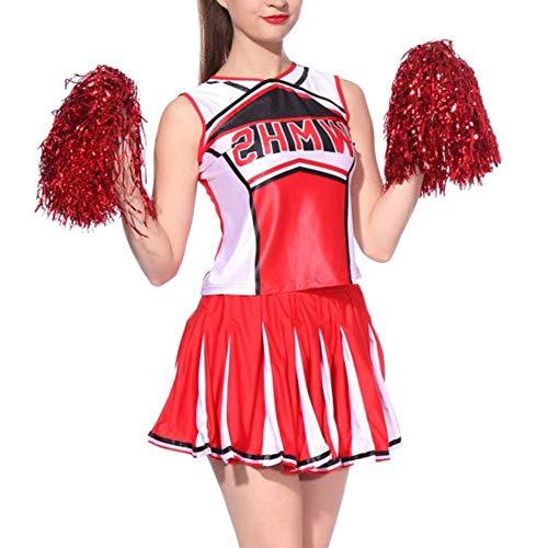 uirend Cheerleading Ropa Mujer Uniformes - Disfraz de Animadora con Pompones para Mujer Deporte Rojo Porristas High School Fancy Dress Traje Fiesta Danza Tops