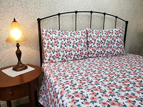 U.S. Polo Assn. 100% Cotton Luxuriously Soft Printed 4-Piece Pillowcase and Sheet Set - Cece (Full)