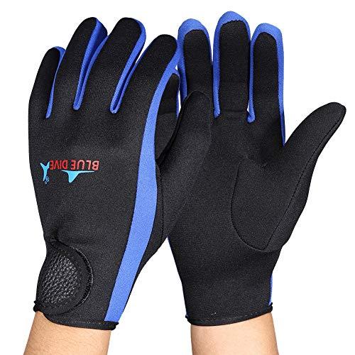 Guantes de buceo de 3 colores de 1.5 mm, guantes de neopreno de doble revestimiento impermeables para buceo, snorkel, kayak, surf y otros deportes acuáticos para hombres y mujeres(Negro azul l)