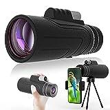 Monocular Telescope 12X50 Portable Waterproof Monocular HD BAK4 Prism for Target Shooting Hunting Bird Watching Outdoor Camping with Smartphone Holder