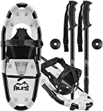 ALPS 14 Inch Snow White Shoes for Boys Women Men with Pair Antishock Snowshoes Poles, Free Carrying Tote Bag