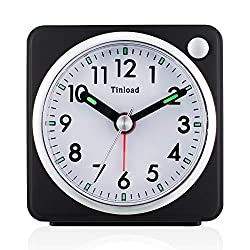 Small Analog Travel Alarm Clock Silent Non Ticking, Snooze, Ascending Beep Sounds, Battery Operated,Light Functions, Easy Set (Black-L)