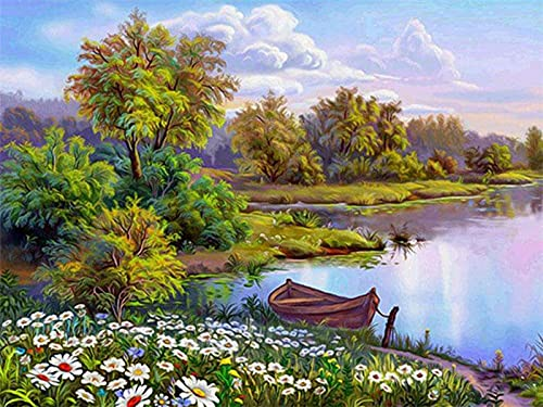 Pintar por Numeros, DIY Paint by Number,Summer Forest Lake Scenery,Garden and Boat, Green and Fresh Style-16X20 Inch Linen Canvas For Modern Home Deco,Frameless