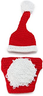 VORCOOL Trajes de bebé para la fotografía Ropa de Ganchillo de Punto Ropa de Fotos de Trajes para 2-9 Meses Bebés (Rojo y Blanco)