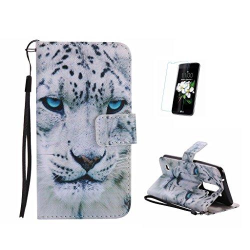 Fatcatparadise Kompatibel mit LG K3 2017 Hülle + Panzerglas Schutzfolie, PU Leder Tasche Gemalt Muster Flipcase Cover Brieftasche Handyhülle Schutzhülle Handytasche Ledertasche (Weiß Leopard)
