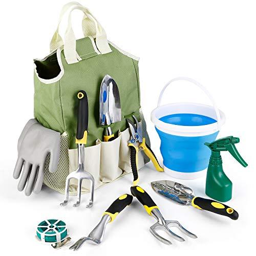 amzdeal Gartenwerkzeug Set, 11-teiliges Gartengeräte Set, aus verchromten Aluminiumlegierung, Rostfrei und Robust, umfasst Werkzeugbeutel