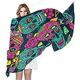 QMIN - Bufanda de seda, diseño de calavera de azúcar, color rosa