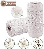 Cuerda de Algodón Natural, 200m x 2mm Hecha a Mano Craft Cuerda, Natural Trenzado Algodón, para DIY Artesanía,...
