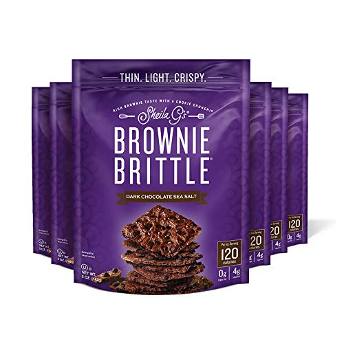 Sheila G's Brownie Brittle Dark Chocolate Chip Sea Salt Sweet Crispy Snack-Low Calorie,Sweets & Treats Dessert,Healthy Chocolate,Thin Sweet Crispy Snack-Rich Brownie Taste w/ Cookie Crunch- 5 oz, 6 Pk