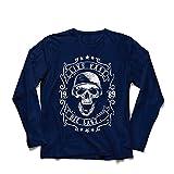 lepni.me Camiseta de Manga Larga para Hombre Viva rápido - muera último - Citas de Paseo en Bicicleta, Ropa de Motocicleta, Encanta Viajar, Gran Regalo para el Motorista (Medium Azul Multicolor)