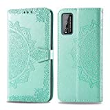 Bear Village Hülle für Huawei Honor Play 4T Pro, PU Lederhülle Handyhülle für Huawei Honor Play 4T Pro, Brieftasche Kratzfestes Magnet Handytasche mit Kartenfach, Grün