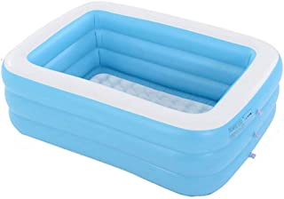 Piscina Hinchable Infantil- Azul Rectangular De Tamano Real Piscinas Easy Set Kiddie con Bomba Y Kit De Parches- para Los Ninos- Adultos- Bebes- Ninos(con Capacidad para 12 Personas)-1.8m 3layers
