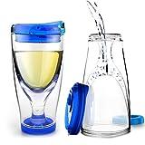 Asobu Chill Vino2Go Insulated Wine Tumbler, 10-Ounce, Blue