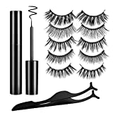 Magnetic Eyelashes Falses Lashes Kit 3D Natural Look Magnet Eyeliner No Glue Needed Reusable Handmade Soft False Lashes(5 Pairs Style)Rendering Eye Decoration Makeup Special Evening Occasio Wear Part
