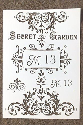 Boutique d'isacrea Schablone aus Kunststoff, Format A4 (21 x 29,7 cm), Motiv Vintage Secret de Jardin