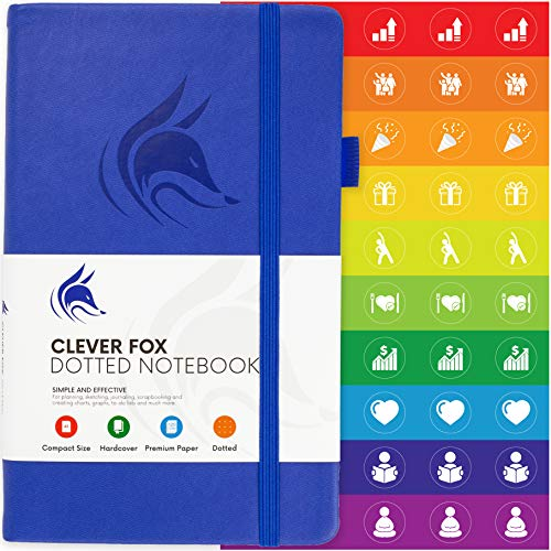 Clever Fox Dotted Notebook – Dot Grid Bullet Numbered Pages Hard Cover Notebook Journal With Thick 120g Paper and Pen Loop, Stickers, 3 Bookmarks, Smooth Faux Leather, 5.12'' x 8.27'' - Royal Blue