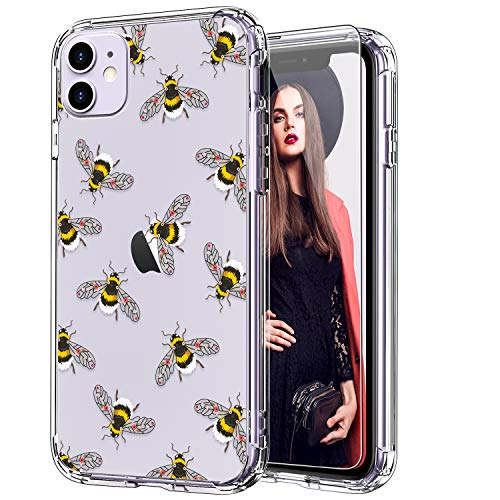 ICEDIO iPhone 11 Case with Screen Protector,Clear TPU Cover with Floral Flower Patterns for Girls Women,Shockproof Slim Fit Protective Phone Case for Apple iPhone 11 6.1 inch Bees