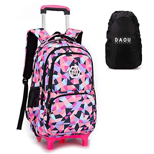 Trolley Bag rugzak met wieltjes schooltas trolley bagage vrije tijd kinderen meisjes jongens 33 x 24 x 48 cm