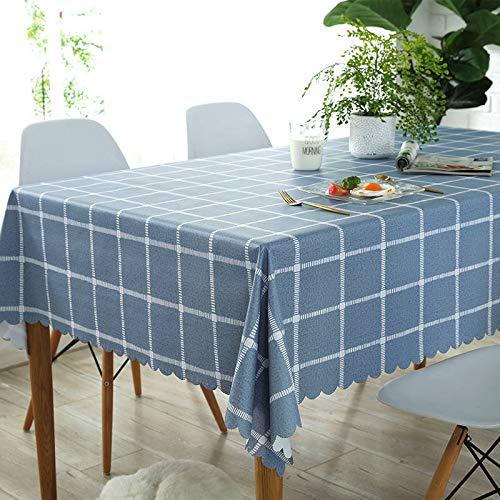 REDWPQ PVC Wasserdicht Öldichtes Tischtuch Rundherum Rechteckige Seitliche Tischdecke 90x150cm (geeignet für den normalen Couchtisch) Platz Indigo