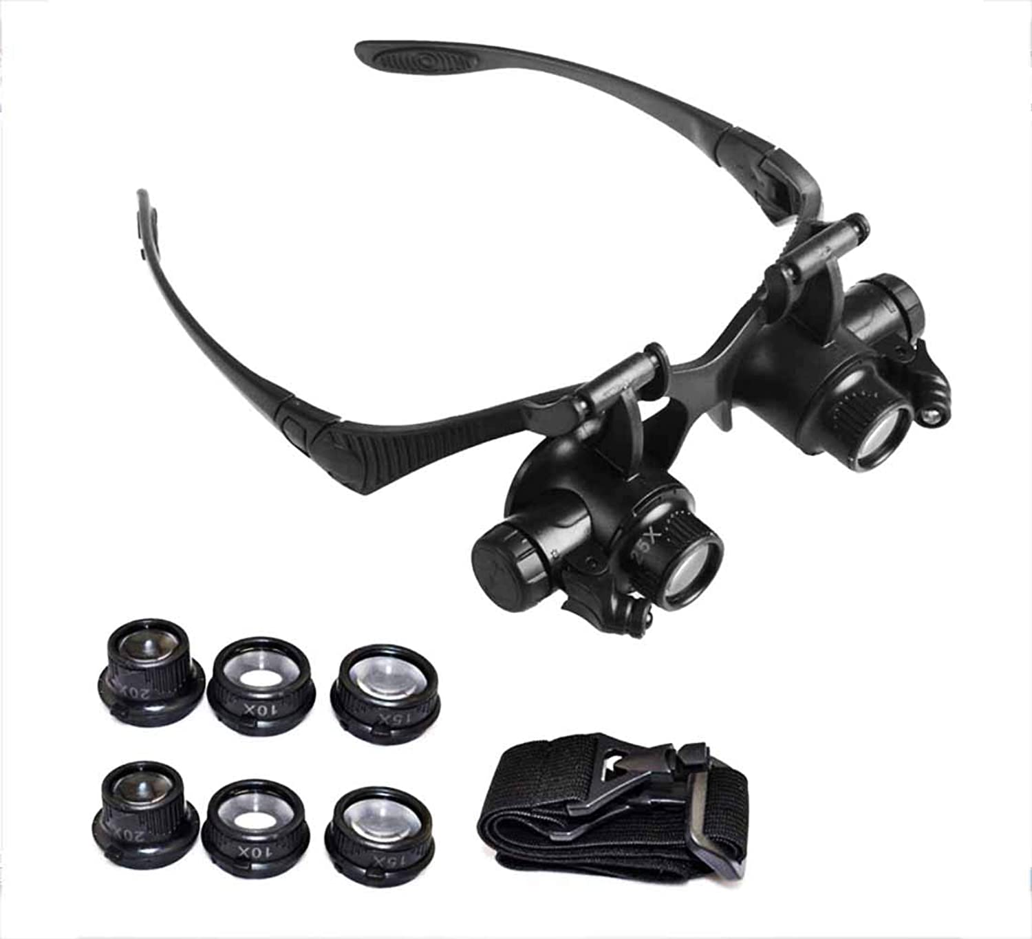 HeadMounted Magnifier 4 Replaceable Lenses LED Light Battery Powered Magnifier Glasses Magnifier