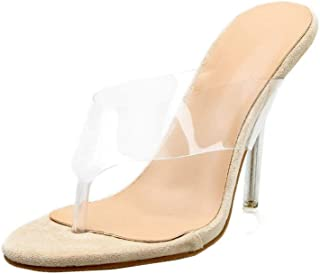 fa4009f4e2168e MOIKA Chaussures à Talons Transparents Sexy Tongs Talon Aiguille Chic Soiree  Chaussures Sandales Ete Escarpin Femme