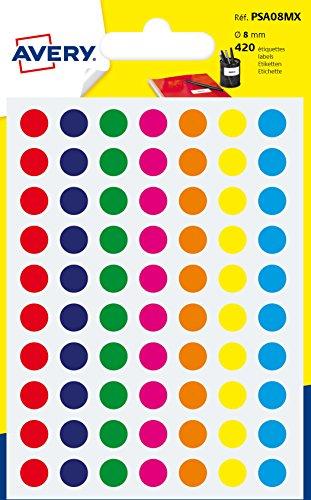 Avery España PSA08MX - Bolsa de 420 gomets multicolor, 8 mm