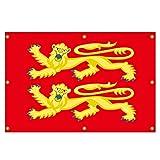 QSUM England 2 Löwen Flagge Mittelalter Fahne 90 x 60 cm Deko Party