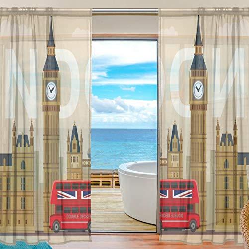 BONIPE Vorhang mit London-Symbolen, aus Voile, Tüll, für Küche, Schlafzimmer, Wohnzimmer, Wohnzimmer, Dekoration, 139,7 x 198 cm, 2-teiliges Set, Polyester, Multi, 55x78x2(in)
