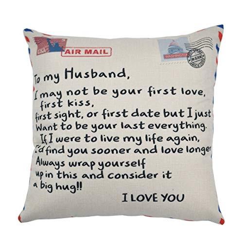 DWDC Pillow Covers 18x18''Anniversary Birthday to My Husband I Love You You are Special to Me Love Husband Cotton Linen Square Throw Waist Pillow Case Decorative Cushion Cover Pillowcase Sofa