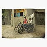 MonkStory Taxi Color Haiti Motorcycle Geschenk für