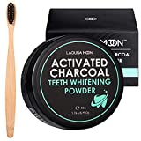 Activated Charcoal Natural Teeth Whitening Powder with Bamboo Brush by Lagunamoon- No Hurt on Enamel...