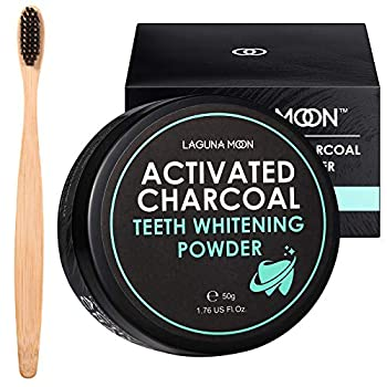 Activated Charcoal Natural Teeth Whitening Powder with Bamboo Brush by Lagunamoon- No Hurt on Enamel or Gum Alternative to Toothpaste Strips Kits Gels Upgrade 2021 Formula 50g/1.76oz