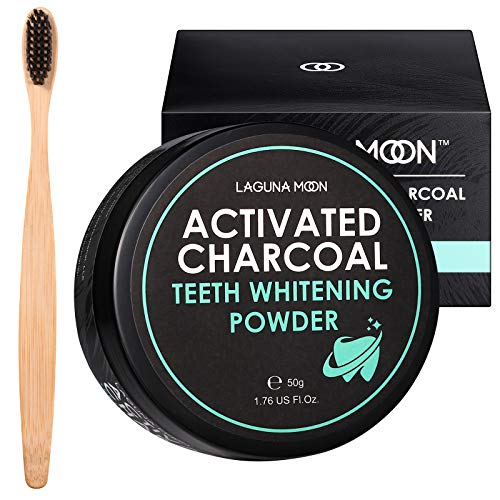 Activated Charcoal Natural Teeth Whitening Powder with Bamboo Brush by Lagunamoon- No Hurt on Enamel or Gum, Alternative to Toothpaste, Strips, Kits, Gels, Upgrade 2020 Formula, 50g/1.76oz