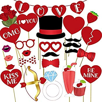 Valentine's Day Photo Booth Props 35 PCS Romantic Valentine s Day Decoration Set with Love Banner - Diy Funny Valentines Wedding Photography Props for Wedding Anniversary Engagement Party Supplies