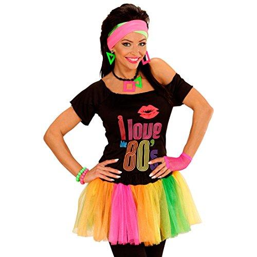 NET TOYS Tutu Fluo Jupe Petticoat Multicolore Polycolore Mini-Jupe Néon Déguisement 80's Jupe Tulle avec des Ruches