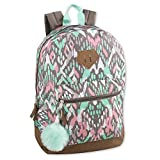 Girls Fashion Backpack With Reinforced Vinyl Bottom and PomPom Keychain