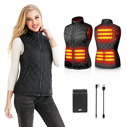 Kintiwe Gilet Riscaldato Donna con Batteria, Temperatura Regolabile Lavabile Gilet Riscaldante Giacca Riscaldabile Invernale per Caccia Moto Escursionismo e Campeggio