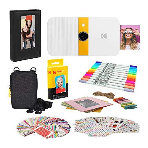 KODAK Smile Impresora Digital instantánea (Blanco/Amarillo) Paquete de Marcos de Fotos con Estuche Blando