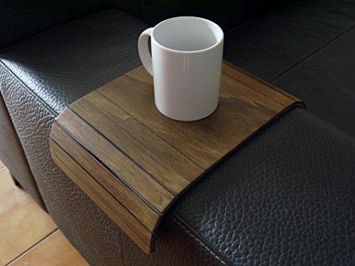 Kleiner sofa armlehnentisch wohnzimmer holz anpassbares dunkle nussbaum Mini flexibler sofatisch modern Couch tisch lehne klein Armlehnentablett Couchtisch ablage Kanapee tablett armlehne