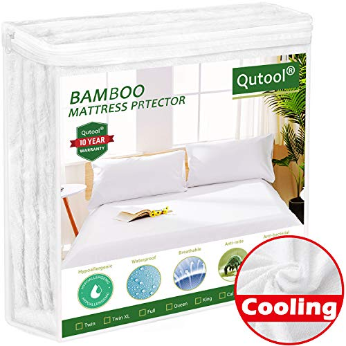 Queen Size Cooling Waterproof Mattress Protector Bamboo Mattress Protector - Hypoallergenic Mattress Pad Cover...