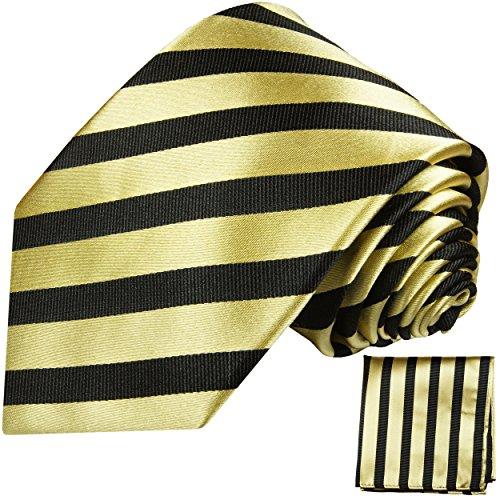 Cravate homme or noir rayé ensemble de cravate 2 Pièces (longueur 165cm)