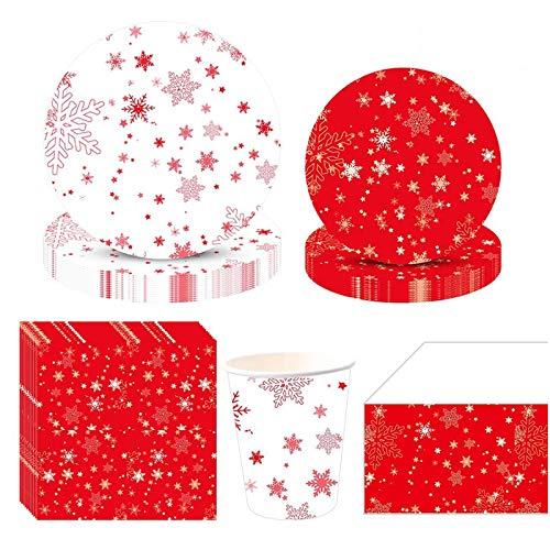 Amycute 81 Stück Schneeflocke Party Geschirr,Weihnachten Deko,Partygeschirr Weihnachten mit Teller, Becher, Servietten und Tischdecke, für 20 Personen.