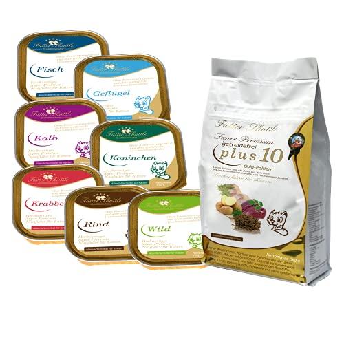 Sparpaket Getreidefreies Katzenfutter. Getreidefreies Katzen Trockenfutter Plus 10 und 21 x 100g Nassfutter in Schalen