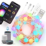 GuGar WiFi Smart Globe Fairy Lights USB Plug in, 10M Waterproof LED bendable String Lights Music Sync APP Remote Control ,Works with Alexa Google Home for Room Restaurant Decor Indoor Outdoor Party