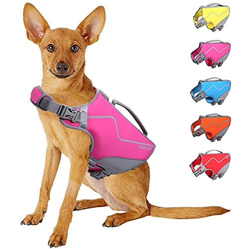 Vivaglory Dog Life Jacket, New Neoprene Sports Style Life Vest for Dogs with Three Adjustable Straps and Side-Release Buckles, Rose, M