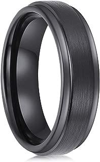 6mm 8mm Black Tungsten Carbide Rings Men Wedding Bands Promise Engagement Brushed Comfort Fit