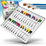 Colardo  Acrylfarben Set [24x 12ml] Acrylfarben – Inklusive 3 Pinsel – Wasserfeste Acryl Farben für Leinwand, Holz, Papier und Stein – Acrylfarben Set für Kinder und Erwachsene