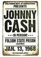 ジョニーキャッシュスズロゴマン洞窟レトロフォルソン刑務所コンサート広告スタイルのカフェバー家壁アートデコレーションポスターレトロ8x12インチ